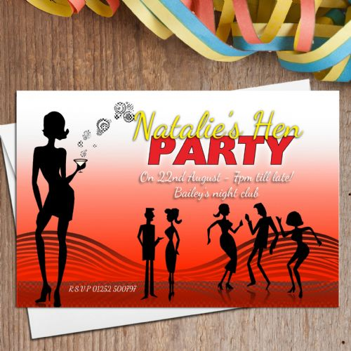 10 Personalised Hen Night Disco Party Invitations N20